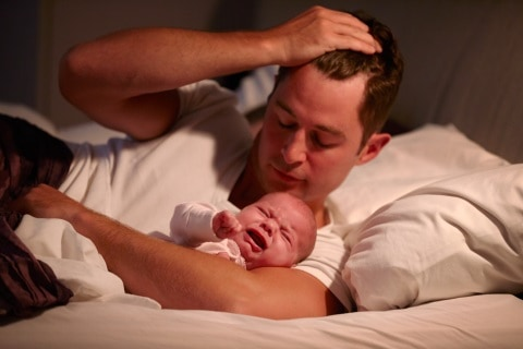 colic newborn dad can't sleep