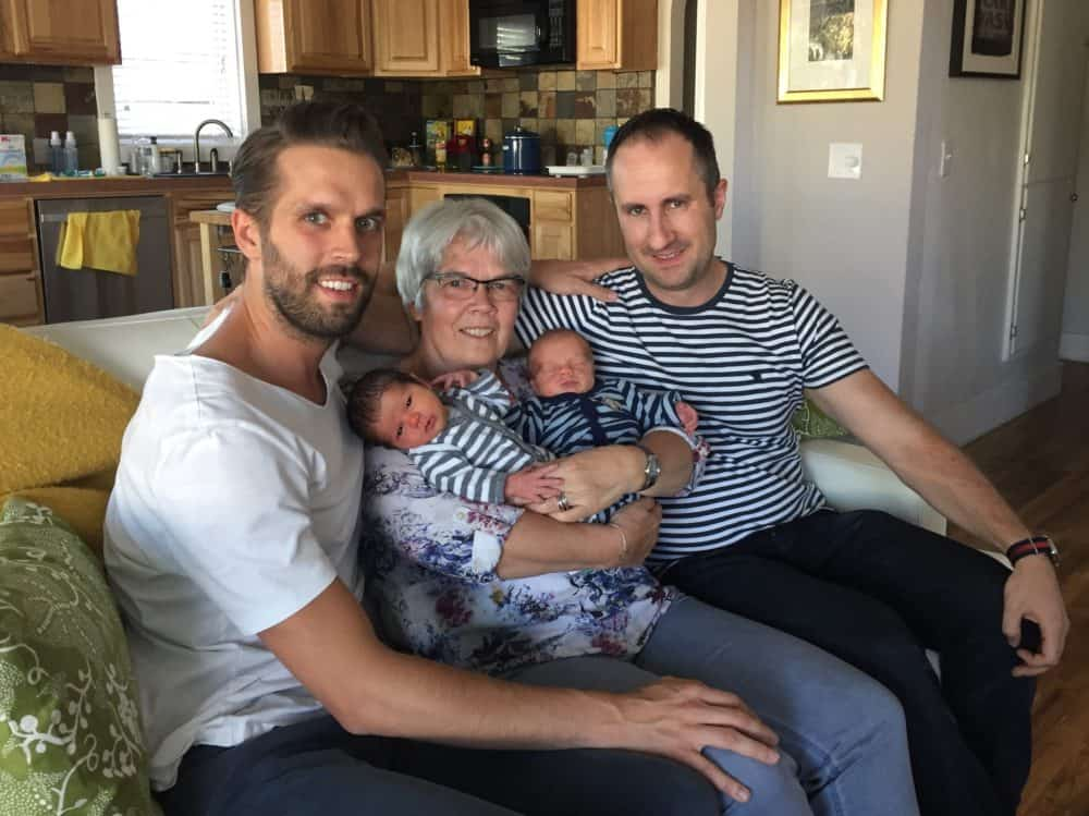 surrogate fraternal newborn twin boys