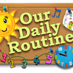 corkboard with text reading our daily routine